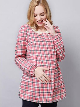 Vogue Plaid Single-Breasted Maternity T-Shirt
