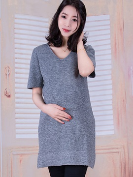 Plain Knit V-Neck Maternity Dress