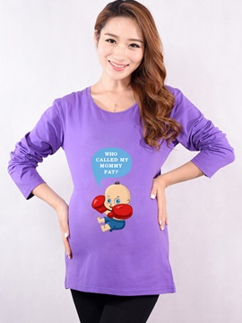 Solid Color Printing Long Sleeve Maternity T-Shirt
