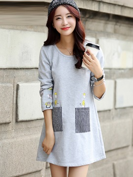 Casual Printing Pocket Maternity Dress