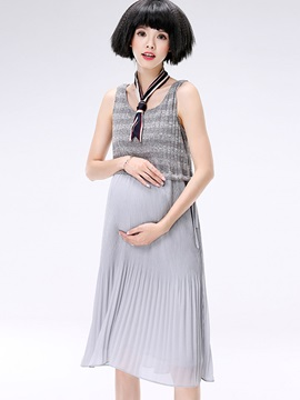 Comfort Stripe Patchwork Maternity Dress