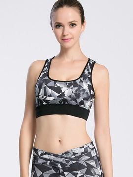 Polyester Printed Shockproof Non-Wired Sports Bra