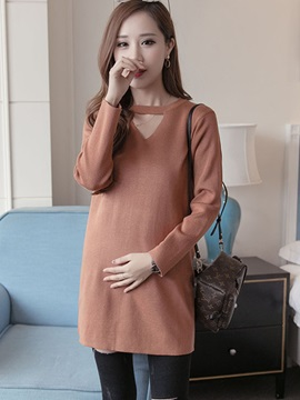Vogue Solid Color Cutout Long Sleeve Maternity Dress
