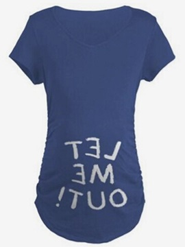 Solid Color Letter-Print Short Sleeve Maternity T-Shirt