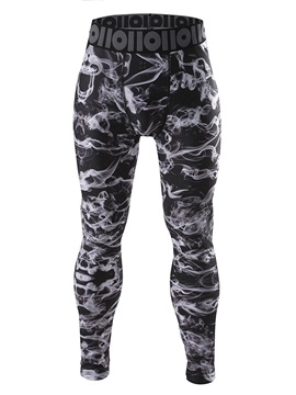 Lycra Black Frog-Printed Men's Sports Tights