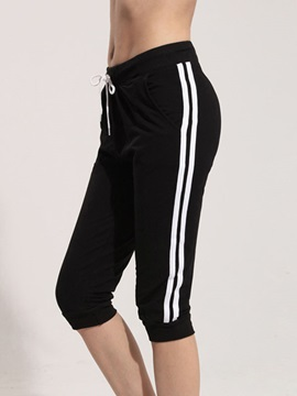 Cotton black Drawcord Sports Cropped Pant