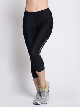 Lycra Black Solid Color Yoga Tights