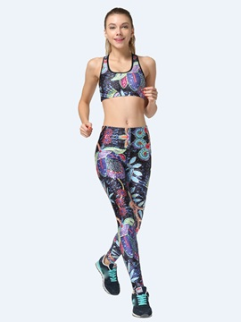 Polyester Floral-Print Women Sports Bra And Pant