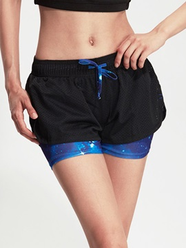 Polyester 2 In 1 Drawstring Active Shorts