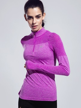 Nylon Pure Color Long Sleeve Half Zip Running Tee