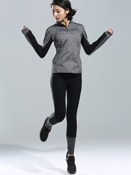 Long Sleeve Contrast Color Women Sports Top Legging And Bra