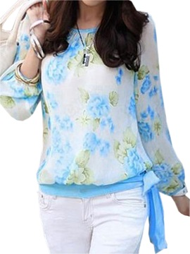 Stylish Floral Printed Slim Blouse