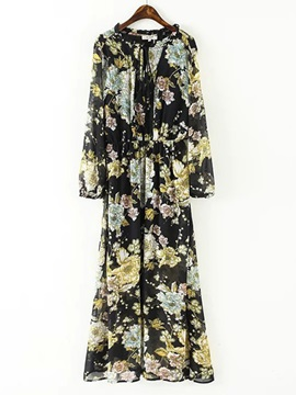 Floral Print Adjusted Waist Long Sleeve Day Dress