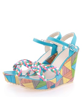 Color Block Crochet Wedge Sandals