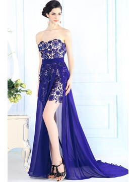 Split-Front Sweetheart Lace Beading Court Train Floor-Length Evening Dress