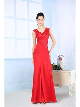 Timeless V-Neck Sheath/Column Sequins Beading Long Evening Dress