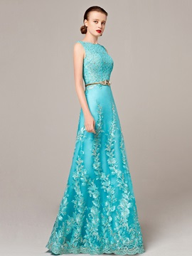 Fancy Straps Appliques Sash Long Evening Dress