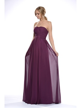 Marvelous Pleats Empire Waist Floor-Length Bridesmaid Dress