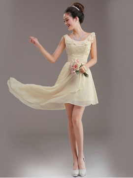 Simple A-Line Scoop Lace Up Ruffles Asymmetry Bridesmaid dress