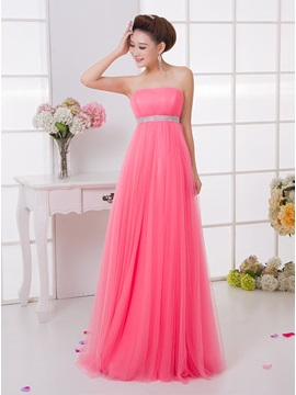 Simple A-Line Strapless Floor-Length Sashes Bridesmaid dress