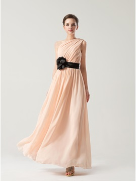 Simple Style Floor Length A-Line Chiffon One Shoulder Bridesmaid Dress