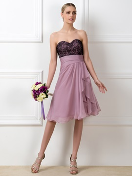 Lace Sweetheart A-Line Short Bridesmaid Dress