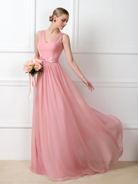 Classic V-Neck Floor-Length Bridesmaid Dress with Sash