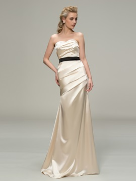 Strapless Ruched Mermaid Bridesmaid Dress with Satin Sash