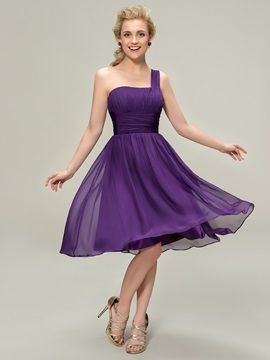 Simple Style One-Shoulder A-Line Knee-Length Bridesmaid Dress