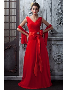 Floor Length A-Line Ruched V-Neck Red Chiffon Taline's Long Bridesmaid Dress With Shawl