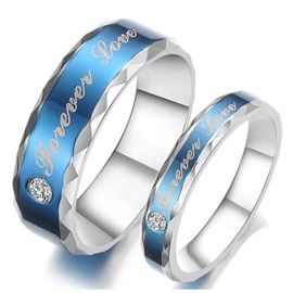 Blue Forever Love Rhinestone Lover's Rings(Price For A Pair )