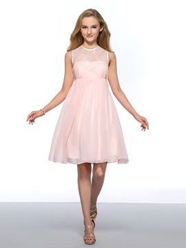 Vigorous Jewel Neck Lace Beading Empire Waist Short Homecoming Dress