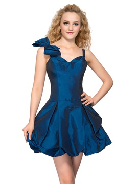 Spaghetti Straps Bowknot A-Line Short Homecoming Dress