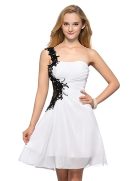 Cool A-Line One-Shoulder Appliques Sequins Beading Short Homecoming Dress