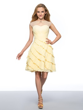 Beaded Bateau Tiered Pleats Cap Sleeves Chiffon Short Homecoming Dress