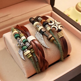 Style Angel Wings Lover Leather Bracelets (Price for A Pair)