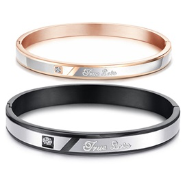 Romantic 'True Love' 316L Titanium Steel Lovers' Bangles(Price For A Pair)