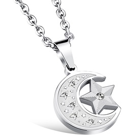 Moon & Star Titanium Steel Pendant Men's Necklace