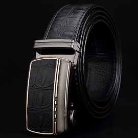 Automatic Buckle Leather Embossed Men's Belt