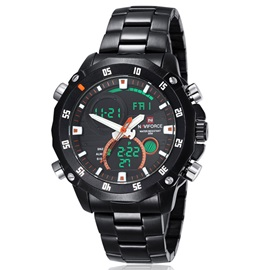 Steel Band Double Movement Men's Watch