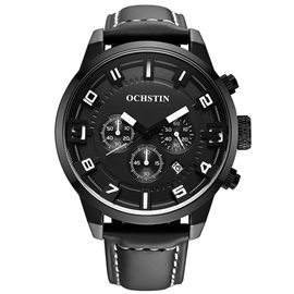Multi-Function Leather Band Design Men's Watch