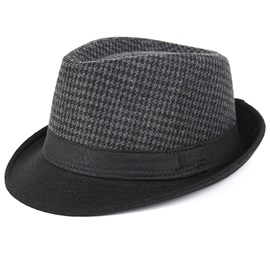 Small Grid Wool Blends Men's Fedora Hat