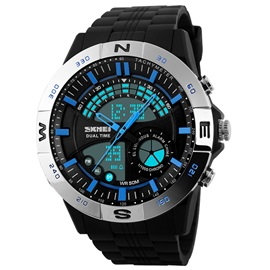 Concise Glass Surface Analog-Digital Men's Sports Watch