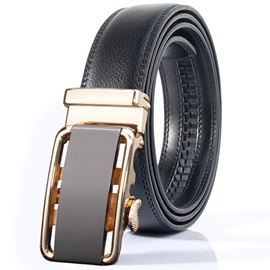 Soft Leather Hollow Automatic Buckle Men's Belt
