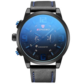 Analog Display Blue Glass Surface Design Men's Quartz Watch