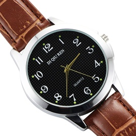 Black Surface Design PU Band Men's Quartz Watch