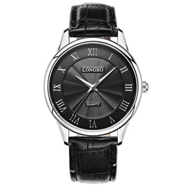 Concise Glass Surface Black Band Men's Quartz Watch