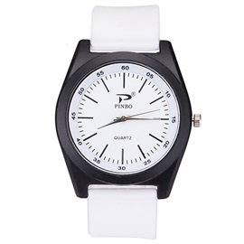 Silicone Band Analog Display Men's Leisure Watch