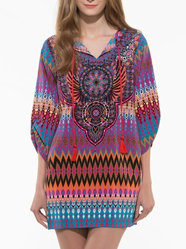 Native Print V Neck Shift Dress