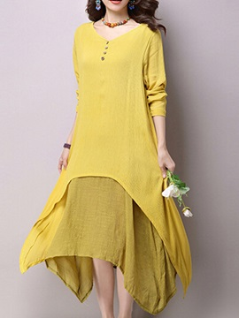 Asymmetric Two in One Long Sleeve Shift Dress